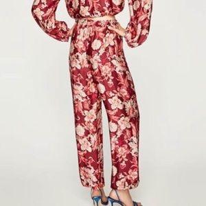 NWT Zara floral jogger pants w/ pockets  sz XS